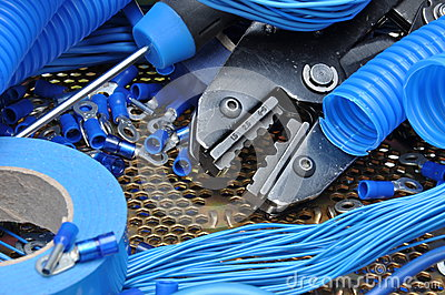 Tools and component for electrical installation Stock Photo