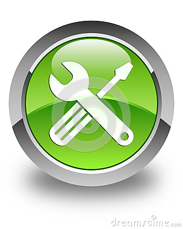 Tools icon glossy green round button Cartoon Illustration