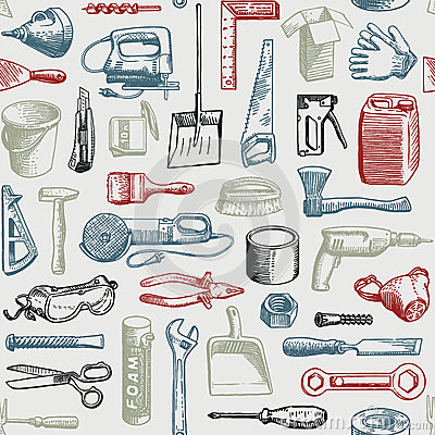 Free Tools Instruments Seamless Pattern Vector Stock Photos - 30588163