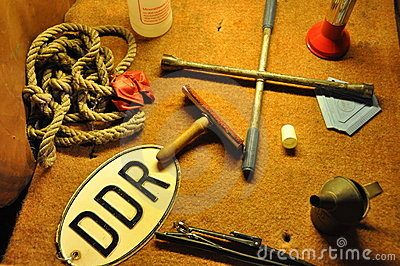 Tools In An Old GDR Car Royalty Free Stock Images - Image: 12616239