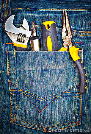 Free Tools On A Pants Pocket Royalty Free Stock Photo - 23964625