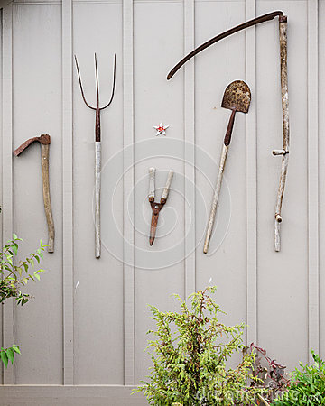 Free Tools On The Shed Wall Royalty Free Stock Photos - 24797808