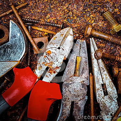 Tools on a rusty background