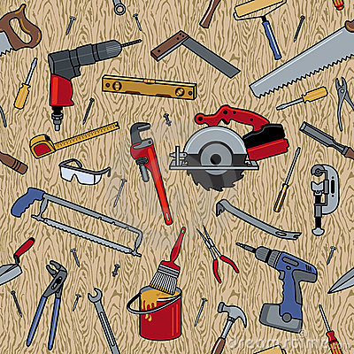 Tools on Wood Pattern