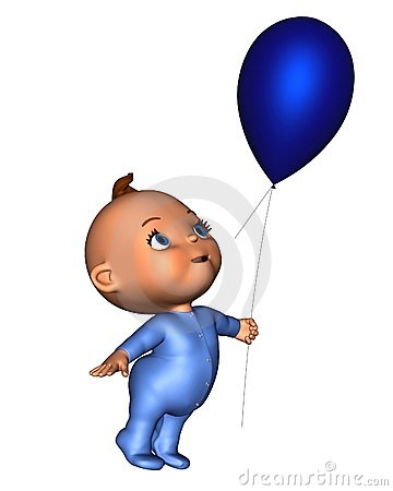 Toon Baby with Blue Balloon