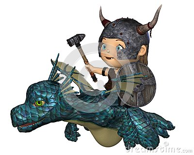 Toon Baby Viking Flying a Pet Dragon