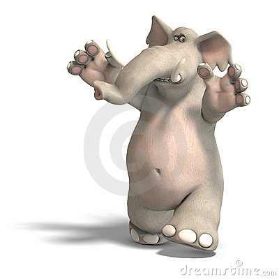 Free Toon Elephant Is Scared Royalty Free Stock Photo - 9496205