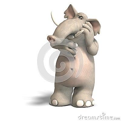 Free Toon Elephant Thinking Royalty Free Stock Photo - 9452265