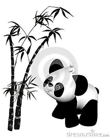 Panda And Bamboo Drawing