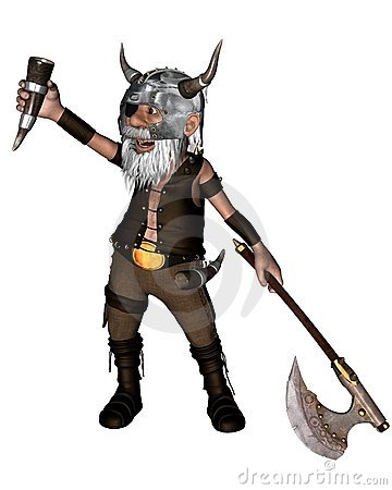Toon Viking Dwarf with Axe - 1