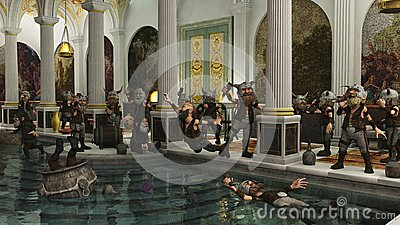 Toon Viking Horde in the Bath House
