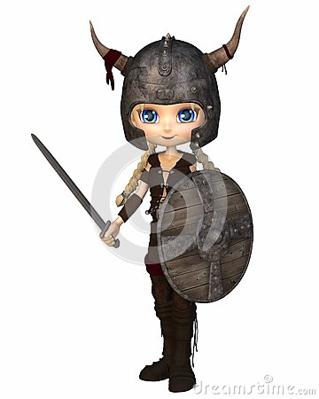 Toon Viking Warrior Girl