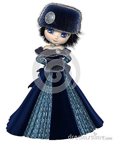 Toon Winter Princess in Blue