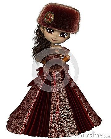 Toon Winter Princess no vermelho