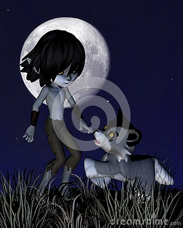 Toon Wolf Boy and Pet Wolf