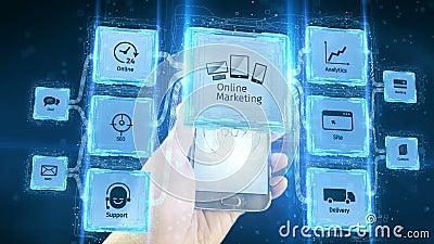 Toont online online marketing handelszaken elektronisch gebruik met mobiele apparaten, regelingsconcept Zwarte achtergrond stock videobeelden