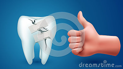 Tooth on blue with hand Vector Illustration