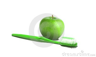 Tooth brush and apple