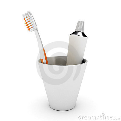 Tooth brush and paste in cap