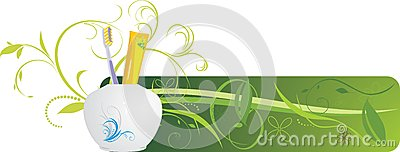 Tooth brush and paste. Decorative banner