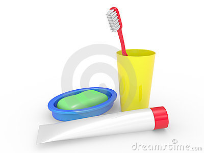 Tooth-brush, tooth-paste soap and a glass