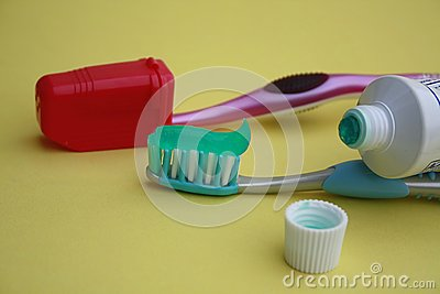 Tooth brush and tooth paste tube