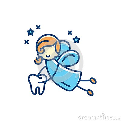 Free Tooth Fairy Icon. Vector Flat Illustration, Thin Line Art Sign Stock Image - 116374121