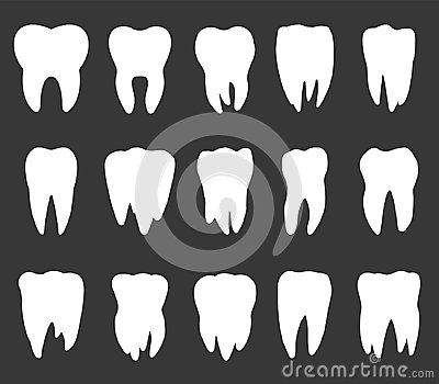 Tooth icon set, teeth vector silhouettes Vector Illustration