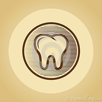 Tooth logo in retro style.
