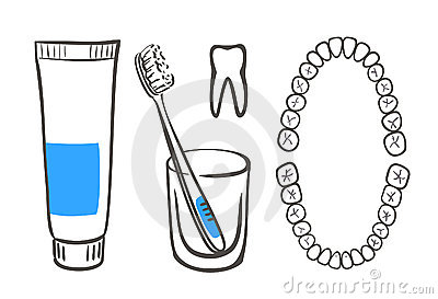 Tooth-paste, brush and teeth