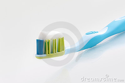 Tooth-paste on a tooth-brush