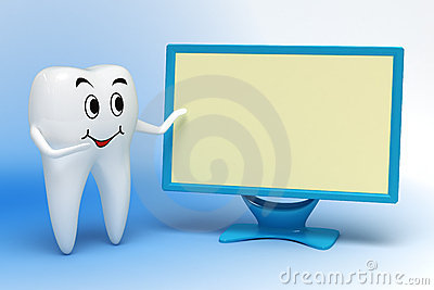 Tooth pointing to monitor
