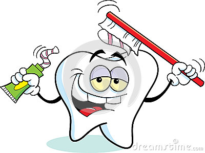 Tooth with a toothbrush