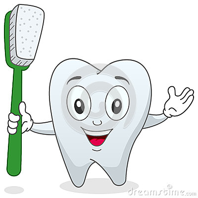 Tooth with Toothbrush Character