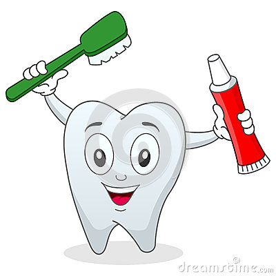 Tooth with Toothbrush & Toothpaste