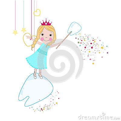 Free Toothfairy With Hearts And Stars Vector Stock Photos - 56953493