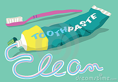 Toothpaste and brush with clean word
