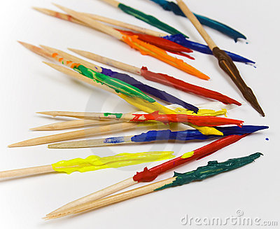Toothpicks covered in paint