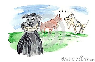 Toothy glimlach van de hond