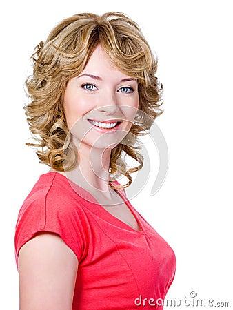 Toothy kvinna för gladlynt leende