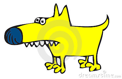 Toothy yellow dog
