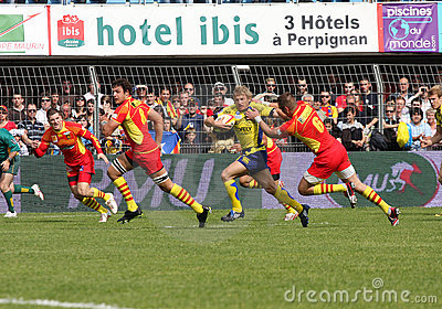 Top 14 rugby match USAP vs ASM Clermont Auve Editorial Photography