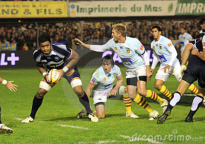 Top 14 rugby match USAP vs Castres Editorial Stock Photo