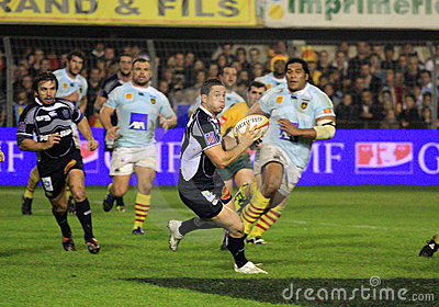 Top 14 rugby match USAP vs Castres Editorial Photo