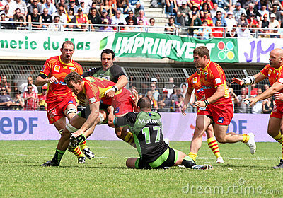 Top 14 rugby match USAP vs Montauban Editorial Image