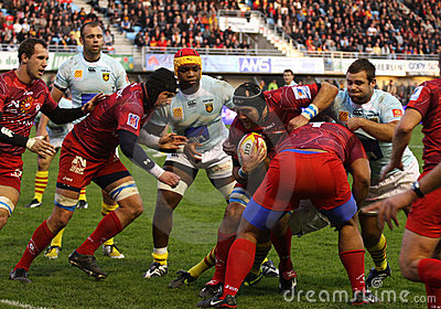 Top 14 rugby match USAP vs Montpellier Editorial Stock Image