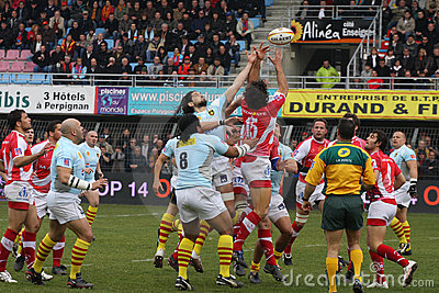 Top 14 rugby match USAP vs Montpellier Editorial Stock Photo