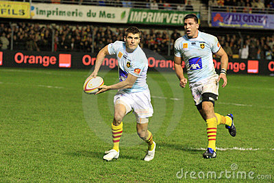 Top 14 rugby match USAP vs RC Toulon Editorial Stock Photo
