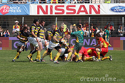 Top 14 rugby match USAP vs Stade Montois Editorial Photo