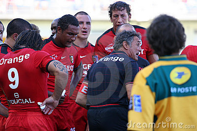 Top 14 rugby match USAP vs Stade Toulousain Editorial Stock Image